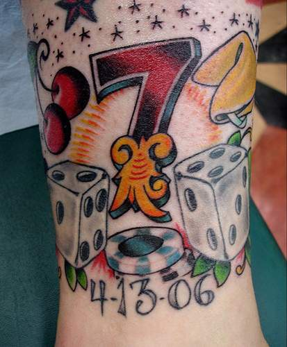 Lucky number seven coloured tattoo for Number 7 tattoo gallery